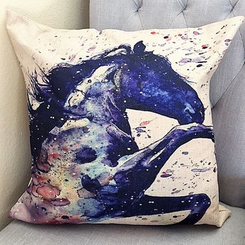 Cotton Linen Abstract Rearing Horse Pillow by Artist Elana Shved