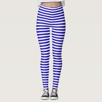 Marine stripes pattern, slim stripes blue & white leggings