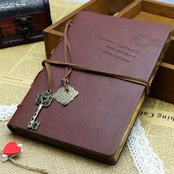 Random Classic Retro Vintage Leather Notebook Bound Blank Page Journal Diary WLN1