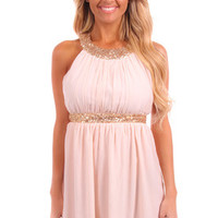 Blush Sequin Trim Dress with Open Back