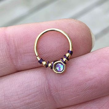 Purple Opal Gold Daith Hoop Ring Rook Hoop Cartilage Helix Tragus