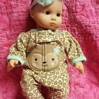 "Baby doll clothes ""Lil' Wild"" (15 inch) doll outfit Will fit Bitty Baby®  sleeper and headband hair clip monkey animal print  D1"