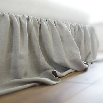 Bed skirt by Lovely Home Idea. Ruffled, linen, King size, custom color.
