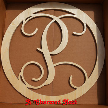 22 inch CIRCLE BORDER Wooden Monogram Letters