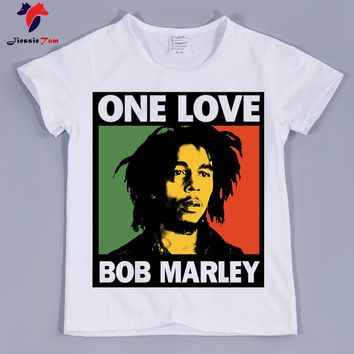 Jamaica singer Bob Marley Reggae Rastafari Design Funny T-Shirts Boy and Girls Baby Cute Clothing Chindern Casual Tops Tees