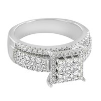 Princess Cut Lab Diamonds Iced Out 14k White Gold 925 Silver Women's Engagement Ring