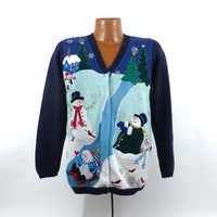 Ugly Christmas Sweater Vintage Cardigan Snowman Scape Holiday Tacky Women's size S