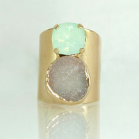 Druzy Cocktail Ring, Double Stones Ring, Gemstones Ring, Mint & Grey  Mineral Ring,  24K Gold Adjustable Wide Band Ring.