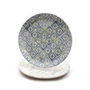 French Countryside Decorative Blue and Green Cross and Flower Round Terracotta Dinner Plate 9.25""