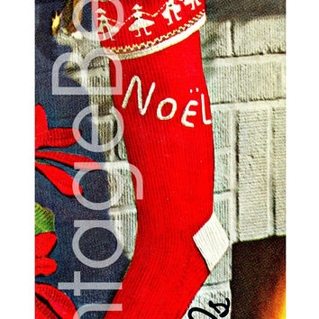 "Vintage Knit Christmas ""NOEL"" Stocking Pattern • 1950s Vintage Knitting Pattern • DIGITAL PATTERN • Retro Boy Girl • Instant Download"