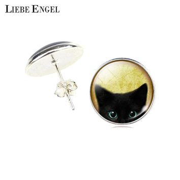 LIEBE ENGEL Fashion New Cute Black Cat Sport Stud Earring For Women Glass Cabochon Dome Round Charms Earrings