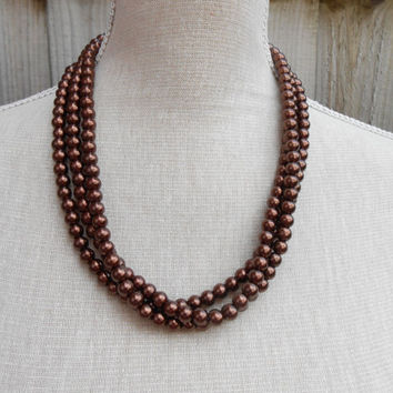 Brown pearl necklace, great for Wedding, Bride, Bridal, Birthday gift, Christmas, Anniversary, Valentine, Mother day, Friends gift