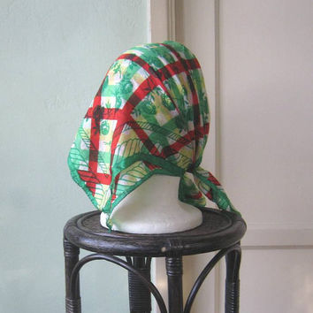 Unusual Green Rose Print Silk Scarf - Red/Green Plaid with Green Roses Bohemian Scarf - Retro Silk Neck/Head Scarf - Checked Picnic Scarf