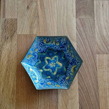 Enameled blue metal bowl hexagon / ring bowl / key bowl / trinket bowl / ring bearer bowl / trinket tray / hexagon