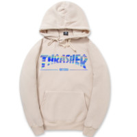 Beige Bling Thrasher Printed Sweatershirt Hoodies