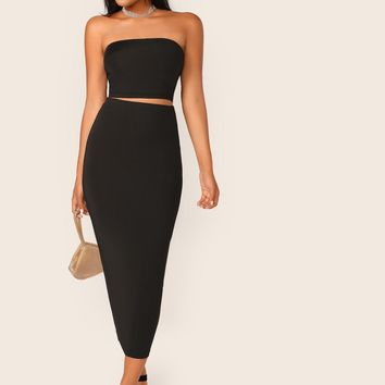 Solid Tube Crop Top & Pencil Skirt Set