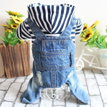 Four Legs Jeans Dog Clothes for Chihuahua Pet Clothing Cool Spring Jumpsuit Striped Jacket With Denim Overalls Dog Jeans Leisure