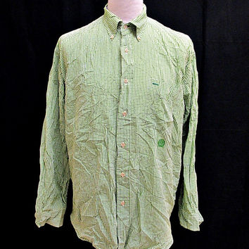 Retro Tommy Hilfiger Green Gingham Check Shirt Large
