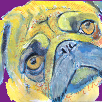 Pug Dog Painting Poster Print of Original Art Funky Pug colourful Yellow Purple Pug print gift idea