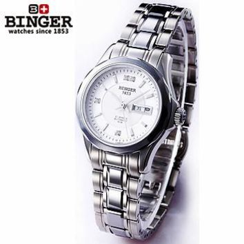 2017 Hot Selling Original Designer Women automatic watch 100M Waterproof sapphire full steel Ladies white Binger wrist watches