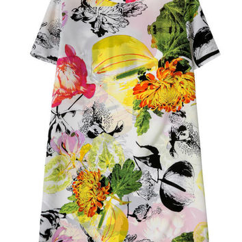 Autumn Women's Fashion Print Short Sleeve Round-neck Skirt One Piece Dress [4917829572]