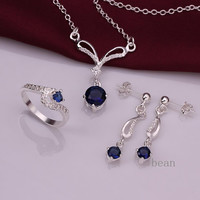 Extravagant Sapphire sterling silver earrings/ring/necklace set