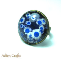 Blue Daisy Fashion Ring, Flower Ring, Retro Fashion, Gift Boxed