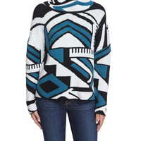 Popova Geometric-Print Sweater, Blue Multi, Size: