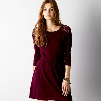 67f1b51e0a AEO Lace Shoulder Sweater Dress