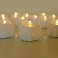 Micandle 12pcs Warm White Flickering Flashing Light LED Tea Light Flameless Candles,tear Wax Dripped Battery-powered Christmas Candle,special Birthday Candle for Wedding Halloween Outdoor Nightclub