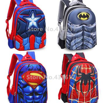3D Spiderman Captain America Superman Iron Man Batman Backpack School Bags for Boys Children Elementary Primary School Kids Bag