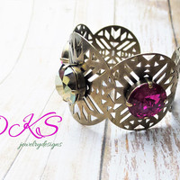 Cleopatra, Swarovski Statement Cuff Bracelet. 18mm, Crystal, Laser Cut, Ant Brass,Large, DKSJewelrydesigns, FREE SHIPPING