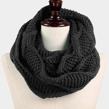 Cable Knit Infinity Scarf - Click for Colors