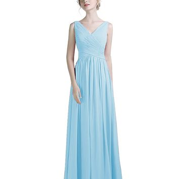 Women's V Neck Chiffon Floor Length Ruched Bridesmaid Dress Straps