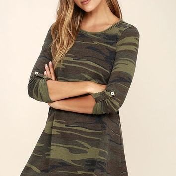 Symphony Army Green Camo Print Swing Dress