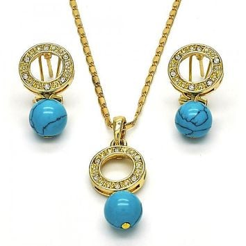 Gold Layered 10.160.0141 Necklace and Earring, Ball Design, with White Crystal, Polished Finish, Golden Tone