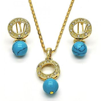 Gold Layered 10.160.0141 Earring and Pendant Adult Set, Ball Design, with White Crystal, Polished Finish, Golden Tone
