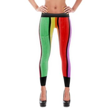 "CindelRaven Printed Leggings - ""Happy Fence"" - Rainbow Colors"