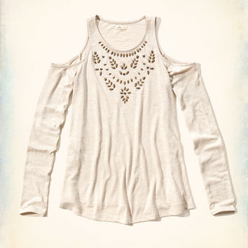 Embellished Cold Shoulder Top
