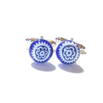 Cobalt Blue and White Millefiori Cuff Links, Murano Glass Jewelry