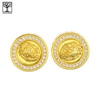 Jewelry Kay style Men's Iced Out 14K Gold Plated Lion Head CZ Screw Back Earrings SHS 486 G