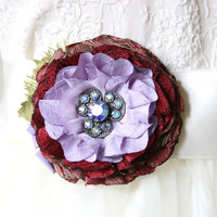 Fabric Flower Corage Pin - Red and Purple with a Sparkling Vintage Button