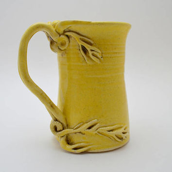 Vintage Yellow Ceramic Pitcher, Vine Handle, Signed Lambert, Art Pottery
