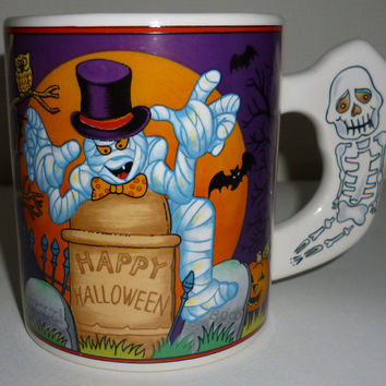 Happy Halloween Mummy Skeleton Pumpkin Coffee Mug
