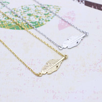 Leaf necklace in  silver or gold tone