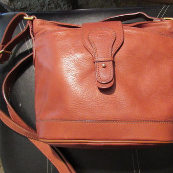 70s Cognac Brown Shoulder Handbag Giudi Italian Leather Purse