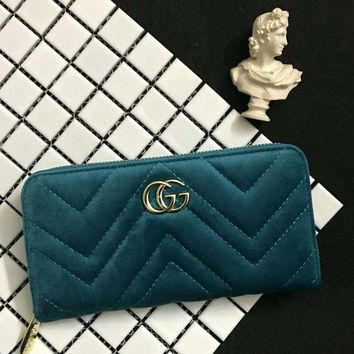 ONETOW Gucci Women Leather Zipper Wallet Purse