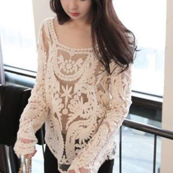 Vintage Women Lace Beige Floral Knit Top Fashion T-Shirt Waistcoat Pullover