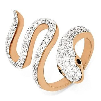 Cheryl M Sterling Silver Rose Gold-Plated White & Black CZ Snake Ring