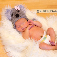Fuzzy Baby Koala Hat Choose size Newborn/0-3 months/3-6 months Must Have Newborn Photo Prop